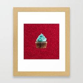 Cupcake Love | Aqua Swirl on Red Sparkle Framed Art Print
