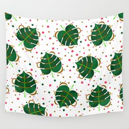 Monstera Leaves with Gold Pink and Green Geometric Confetti Wall Tapestry