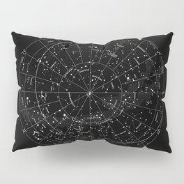Constellation Map - Black & White Pillow Sham