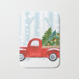 Christmas Red PickUp Truck on a Snowy Road Bath Mat