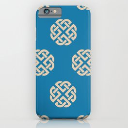 Celtic Endless Knot Symbol Blue and Sand iPhone Case