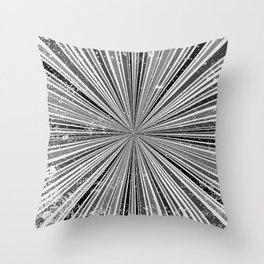 Black And White Rays Background Throw Pillow