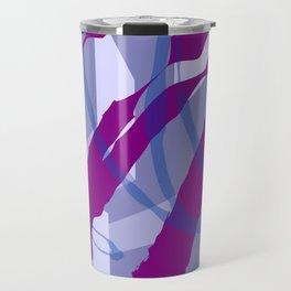 Purple Streaks & Blocks Abstract Art Travel Mug