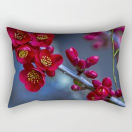 Red Flowering Quince Rectangular Pillow