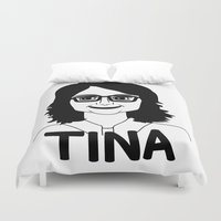tina crespo Duvet Covers featuring Tina Fey by Flash Goat Industries