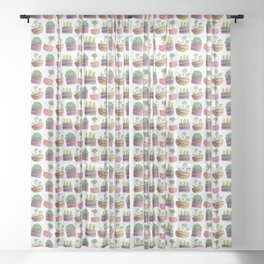 Cute cactus and plants Sheer Curtain