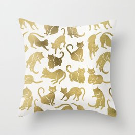 Cat Positions – Gold Palette Throw Pillow