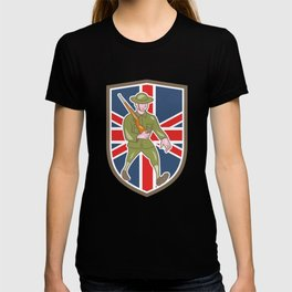 World War One Soldier British Marching Cartoon Shield T-shirt