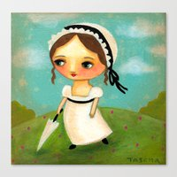 jane austen Canvas Prints featuring Jane Austen by tascha