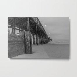 Newport Pier in Grey Metal Print