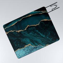 Teal Blue Emerald Marble Landscapes Picnic Blanket