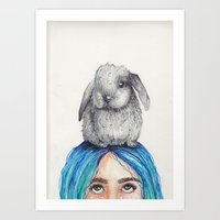 Bunny on Head Art Print