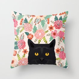Black Cat florals spring summer animal portrait pet friendly cat lady gifts for her or him cute cats Throw Pillow