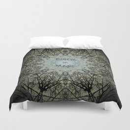 Mandala tree art, believe in magic, bare branches witch witchy wiccan inspirational sacred geometry Duvet Cover