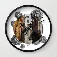 venice Wall Clocks featuring Venice by Caroline Fogaça
