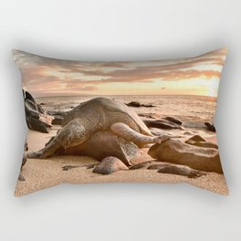 Exhausted Turtle in Maui Rectangular Pillow