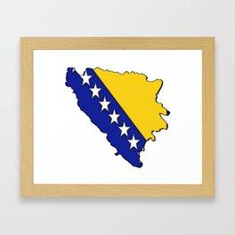 Bosnia and Herzegovina Map with Flag Framed Art Print