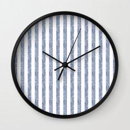 Maritime Beach Pattern- Blue and White Stripes- Vertical - Wall Clock