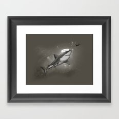 HOLY SHARK! Framed Art Print