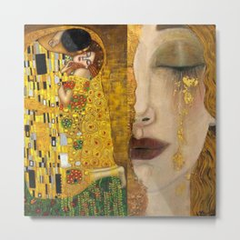 Gustav Klimt portrait The Kiss & The Golden Tears (Freya's Tears) No. 1 Metal Print