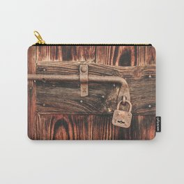 Rustic Old Wooden Door and Lock Carry-All Pouch