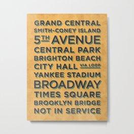 New York Train Stations Retro Vintage  - Black Yellow Metal Print
