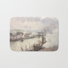 Camille Pissarro - Steamboats in the Port of Rouen, 1896 Bath Mat