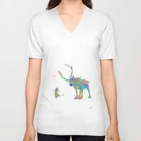 olaf V-neck T-shirts featuring Olaf and Sven by AHDessins
