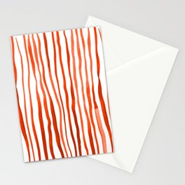 Vertical watercolor lines - orange Stationery Cards