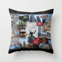 detroit Throw Pillows featuring Detroit MI by Andrew Sliwinski