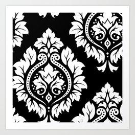 Decorative Damask Art I White on Black Art Print