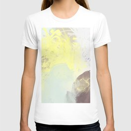 watercolor abstract mint yellow brown art  T-shirt