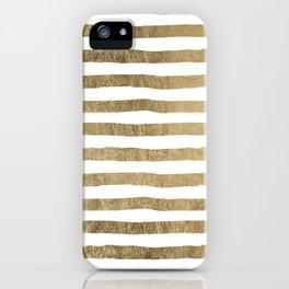 White faux gold elegant modern striped pattern iPhone Case