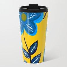 Blue Flowers and Yellow Pattern Travel Mug