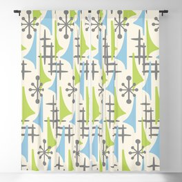 Mid Century Modern Atomic Wing Composition 92 Blue Chartreuse and Gray Blackout Curtain