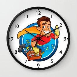 Superhero handyman Wall Clock
