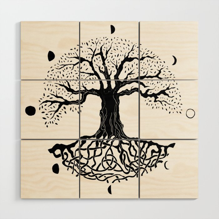 black and white tree of life with moon phases and celtic trinity ...