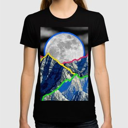 Colourful Mountain and Moon Collage T-shirt