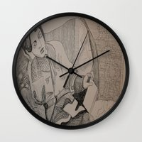 oscar wilde Wall Clocks featuring Oscar Wilde Author Portrait by Wicked Ink