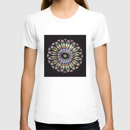 Stained glass cathedral rosette T-shirt