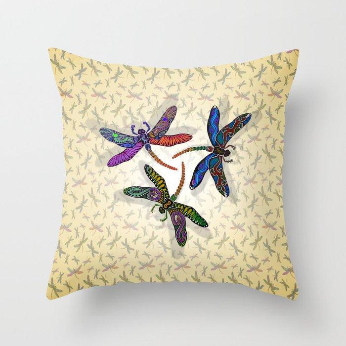 DRAGONFLY CIRCLE 2 Throw Pillow
