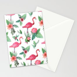 Flamingo Floral Tropical Stationery Cards