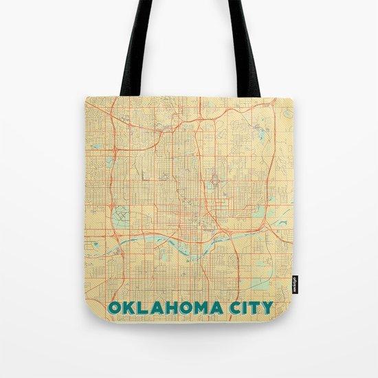 Oklahoma City Map Retro Tote Bag