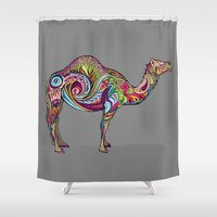 camel Shower Curtains featuring Camel by Green Girl Canvas