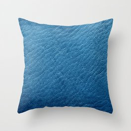 Leather Texture (Blue) Throw Pillow