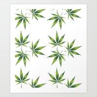 marijuana Art Prints featuring Marijuana Leaves  by Limitless Design