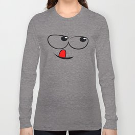 Smiling Face With Red Tongue Long Sleeve T-shirt