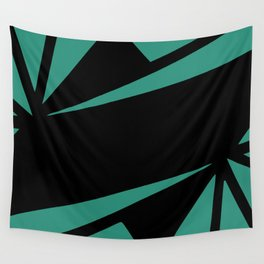 Abstract art deco green and black Wall Tapestry