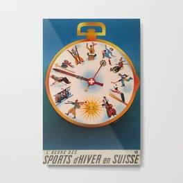 Sports de hiver en suisse Vintage Travel Poster Metal Print