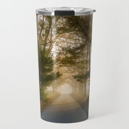 Daylight and Mist - Road with Warm Light in Great Smoky Mountains Travel Mug